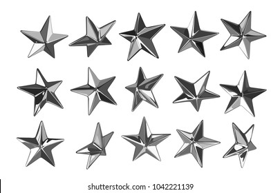 Vector punk star studs. Set of 15 different elements seen from different angels.