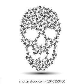 Vector punk star studs in the shape of a skull isolated on white background.