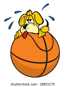 vector of puppy dog exhausted from trying to balance on basketball
