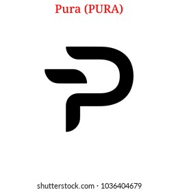 Vector Pura (PURA) digital cryptocurrency logo. Pura (PURA) icon. Vector illustration isolated on white background.