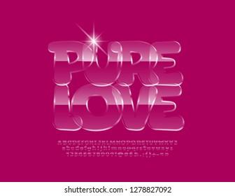 Vector Pure Love glass logotype with Transporent Font. Ice style Alphabet Letters, Numbers and Symbols.