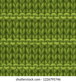 Vector Purl Stripes Stitch Pattern. Hand-drawn jersey cloth boundless background. High detailed green woollen hand-knitted fabric material.