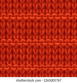 Vector Purl Stripes Stitch Pattern. Hand-drawn jersey cloth boundless background. High detailed red woollen hand-knitted fabric material.
