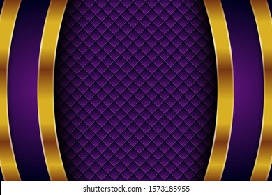 Vector purple background with gold element decoration. dynamic abstract gradient with gold line. geometric abstract modern design. eps 10 vector editable files. square pattern.