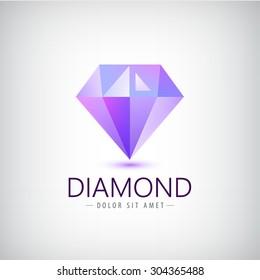 vector purple diamond icon, logo isolated. Fashion, jewelry modern 3d crystal logo, identity