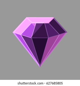 Vector purple jewel on the gray background