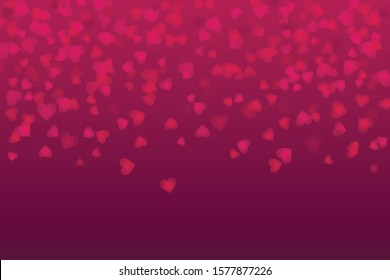 Vector purple and red Valentines Day heartshapes background elements in flat style