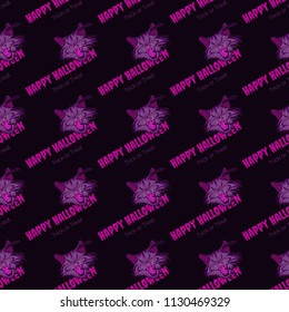 Vector purple seamless pattern with slanted vampire cat and bats with text happy halloween, trick or treat.