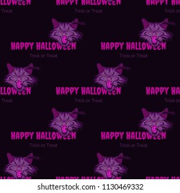 Vector purple seamless pattern with vampire cat and bats with text happy halloween,  trick or treat.