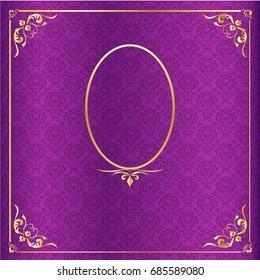 Vector purple Thai luxury background with golden frame