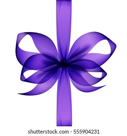 Vector Purple Transparent Bow and Ribbon Top View Close up Isolated on White Background