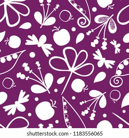 Vector purple and white autumn medley seamless pattern background. Perfect for fabric, scrapbooking, giftwrap, wall paper projects, stationary