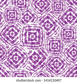 Vector purple and white shibori diamond and squares overlap pattern. Suitable for textile, gift wrap and wallpaper.