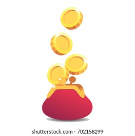 Vector Purse illustration. Treasure of gold coins on transparent background. Golden coin.