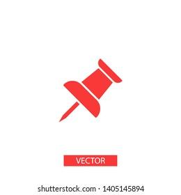 Vector push pin icon, Pushpin icon. Push pin vector illustration for graphic design. Push pin Isolated. Vector EPS10 pin symbol