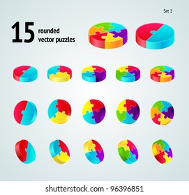 Vector puzzle diagram  3D set (pie chart) on white background,  part 3