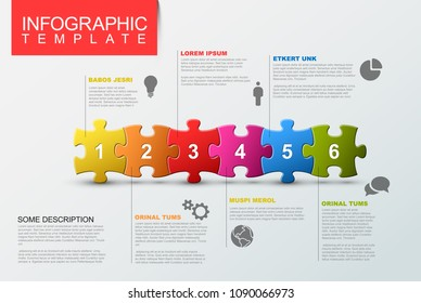 Vector puzzle Infographic report template made from colorful jigsaw pieces, icons and description text
