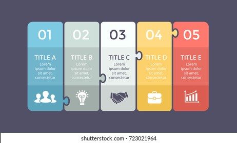 Vector puzzle labels infographic, diagram, graph, presentation chart. Business infographics concept with 5 stickers options, parts, steps, processes. Abstract banners.