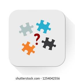 vector puzzle quiz icon. Flat illustration of puzzle. creativity concept isolated on white background. puzzle sign symbol - quiz icon