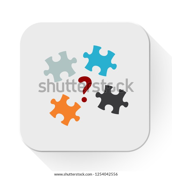 vector puzzle quiz icon. Flat illustration of puzzle. creativity concept isolated on white background. puzzle sign symbol - quiz icon