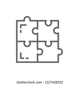 Vector puzzle, simple solutions, compatibility, solving problem line icon. Symbol and sign illustration design. Isolated on white background