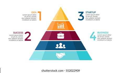 Vector pyramid up arrows infographic, diagram chart, triangle graph presentation. Business timeline concept with 4 options, parts, steps, processes. Icons and text data info graphic. Top rock timeline