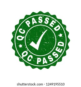 Vector Qc Passed grunge stamp seal with tick inside. Green Qc Passed imprint with distress style. Round rubber stamp imprint.