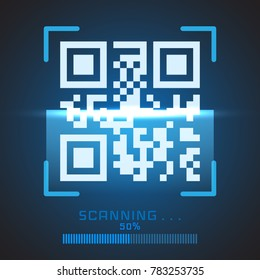 Vector QR code sample for smartphone scanning isolated on blue background.