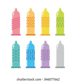 vector quality textured condoms, types of condoms, candy condom, protection / cute, cartoon / rainbow colors