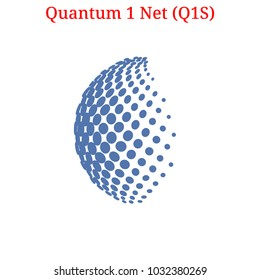Vector Quantum 1 Net (Q1S) digital cryptocurrency logo. Quantum 1 Net (Q1S) icon. Vector illustration isolated on white background.