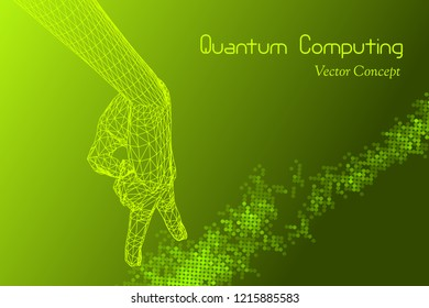 Vector Quantum Computing Concept  - Hi-Tech Digital Design - Emblem of  AI,  Signal Cryptography, Big Data, Cryptanalysis, Machine Learning etc