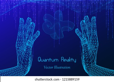 Vector Quantum Reality Concept  - Hi-Tech Digital Design - Emblem of Qubit, Artificial Intelligence,  Signal Cryptography, Big Data, Cryptanalysis, Machine Learning etc
