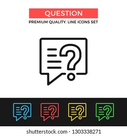 Vector question icon. Message with question mark. Premium quality graphic design. Modern signs, outline symbols collection, simple thin line icons set for website, web design, mobile app, infographics