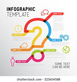 Vector Question Mark Infographic report template made from thick marker lines with icons