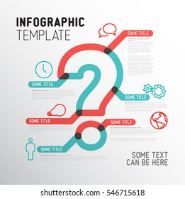Vector Question Mark Infographic report template made from thick marker lines with icons - bold red and teal line version