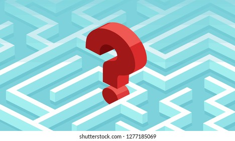Vector of a question mark lost in a labyrinth. Business challenges concept