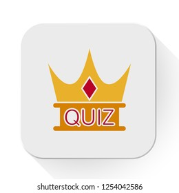 vector quiz crown icon. Flat illustration of quiz answer. exam concept isolated on white background. quiz sign symbol - survey icon