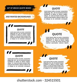 Vector Quote Boxes set. Painted strips, round, square. Distress texture. Brush stroke frames for your text. White grunge speech bubbles. Artistic label, badge, poster. Isolated on orange background.