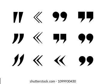 Vector Quote Marks Collection, Commas, Black Icons Isolated on White Background.
