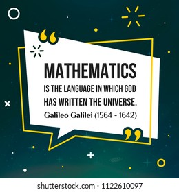 Vector quote. Mathematics is the language in which God has written the universe