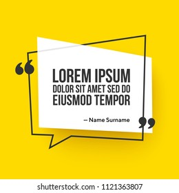 Vector quote template with text placeholder in trendy style. Paper origami card with outline bubble frame. Ready to edit design template.