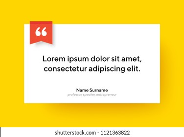 Vector quote template with text placeholder in trendy style. Paper material design style rectangular card. Ready to edit design template.