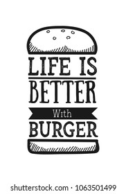 Vector quote typographical background about fast food with illustration of burger in hand drawn sketch