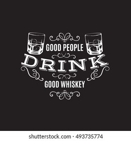 Vector quote typographical background about whiskey. Hand drawn sketch style illustration of glass with ice cube. Template for business card poster and banner.