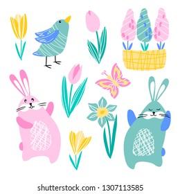 vector rabbit hare butterfly bird daffodil tulip crocus hyacinth spring flowers on white for childish cute cartoon design