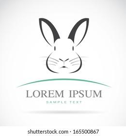 Vector of a rabbit head design on white background, Rabbit Logo. Vector rabbit for your design. Animal. Pet. Easy editable layered vector illustration.