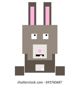 Vector rabbit are made of squares and rectangles