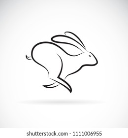 Vector of rabbit is running on white background. Wild Animals. Black bunny. Easy editable layered vector illustration.