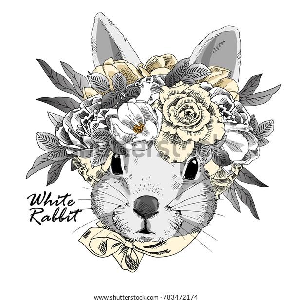 Vector rabbit with wreath. Hand drawn illustration of dressed rabbit.