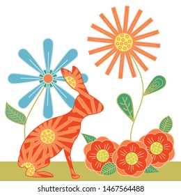 Vector Rabbits Flowers in Red, Blue, Green, Orange, Yellow Illustration